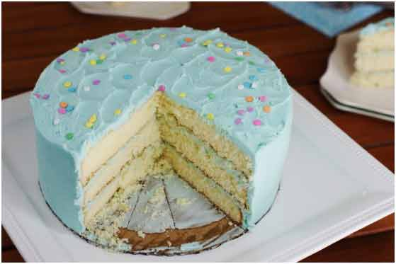 Banana Vanilla Cake with blue cream