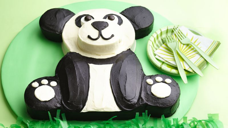 Panda cake with the texture and pattern