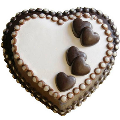Delicious Double Heart On Chocolate Cake Same Day