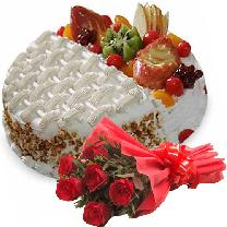 6 Red Roses N Fruit Cake