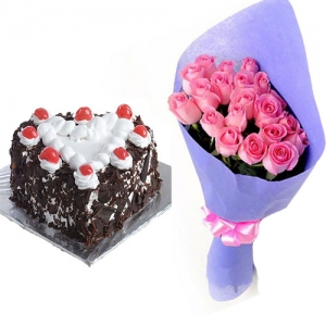 Black Forest Cake & 10 Pink Rose