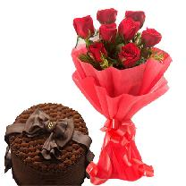 Chocolate Cake & 6 Red Rose