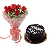 Choco Cake Round & 6 Red Rose