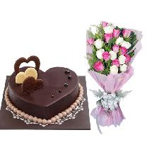 Chocolate Cake & 10 Mix Rose