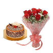 Butterscotch Cake & 10 Red Rose