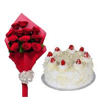 White Forest Cake 10 Rose