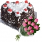black-forest-cake-in-heart-12-pink-roses thumb