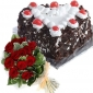 black-forest-cake-in-heart-12-roses thumb