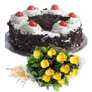 Black Forest Cake 12 Yellow Roses