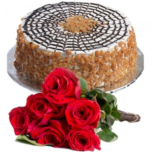 Butterscotch Cake 6 Roses