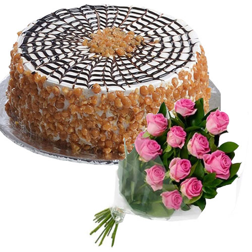butterscotch-cake-in-round-12-pink-roses
