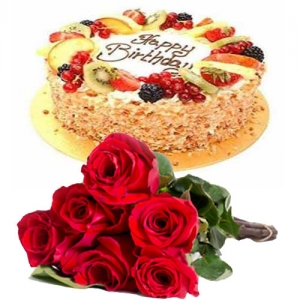 Butterscotch Fruit Cake 6 Roses