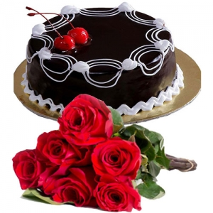 Cherry On Chocolate Cake 6 Roses