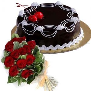 Chocolate Cake 12 Red Roses