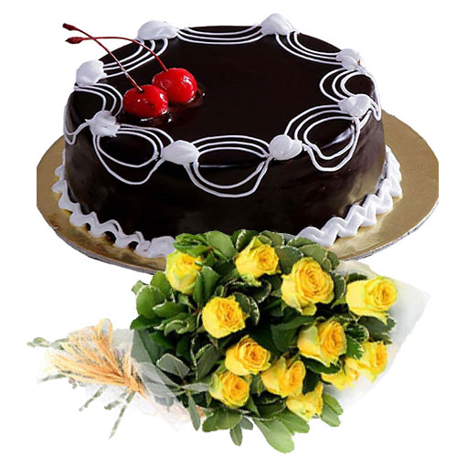 cherry-on-chocolate-cake-12-yellow-roses
