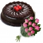 chocolate-cake-with-cherry-12-pink-roses thumb