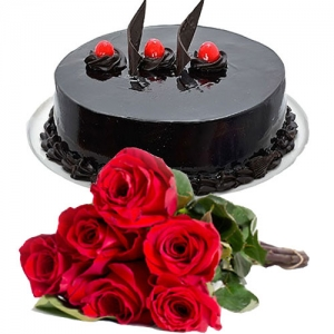 Chocolate Cream Cake 6 Roses