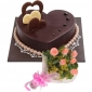chocolate-heart-cake-6-pink-roses thumb