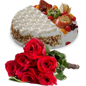 Fruit Cake With Two Taste 6 Roses