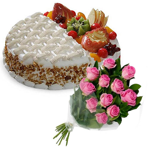 fruit-cake-with-two-taste-12-pink-roses
