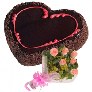 Heart Choco Cake 6 Pink Roses