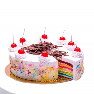 Rainbow Cake With Cherry